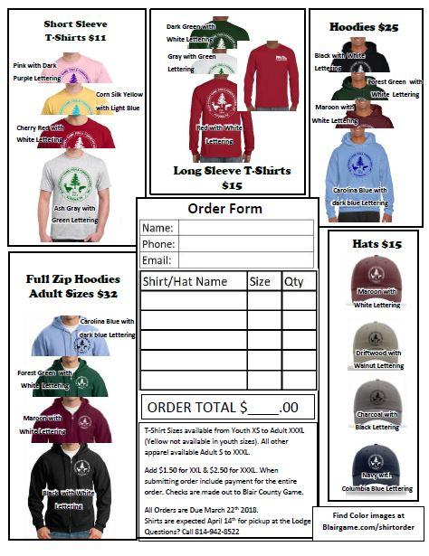 Shirt order form image