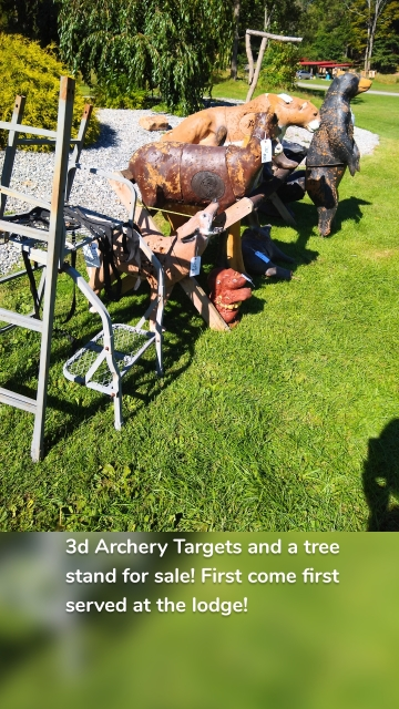 3d Archery Targets and a tree stand for sale! First come first served at the lodge!
